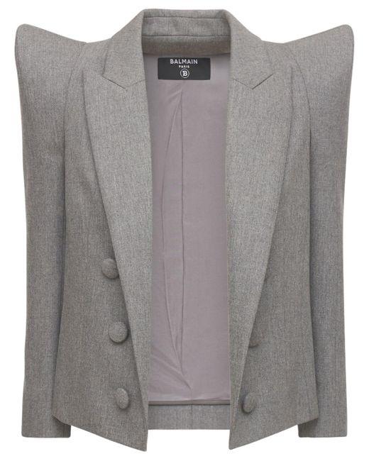 Пиджак Из Шерсти Стрейч Balmain, цвет: Gray