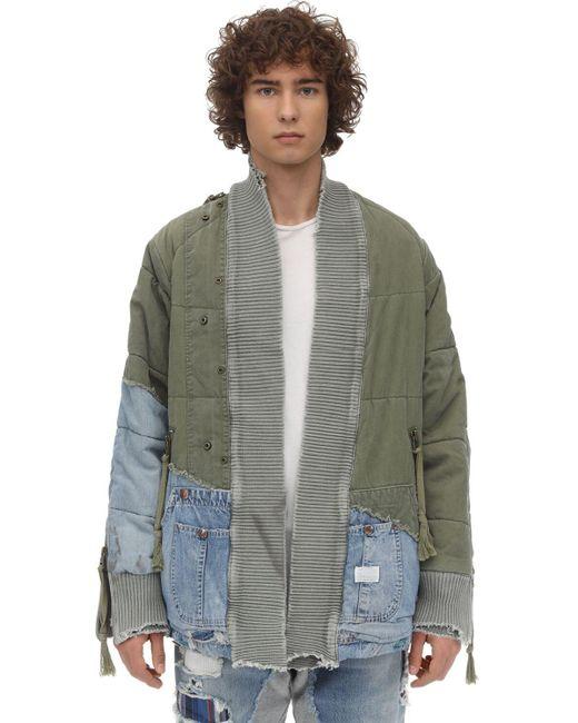メンズ Greg Lauren Kimono アーミーデニムスウェットシャツ Multicolor
