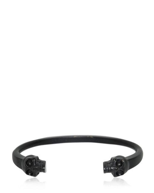 Alexander McQueen - Black Twin Skulls Enameled Bracelet for Men - Lyst