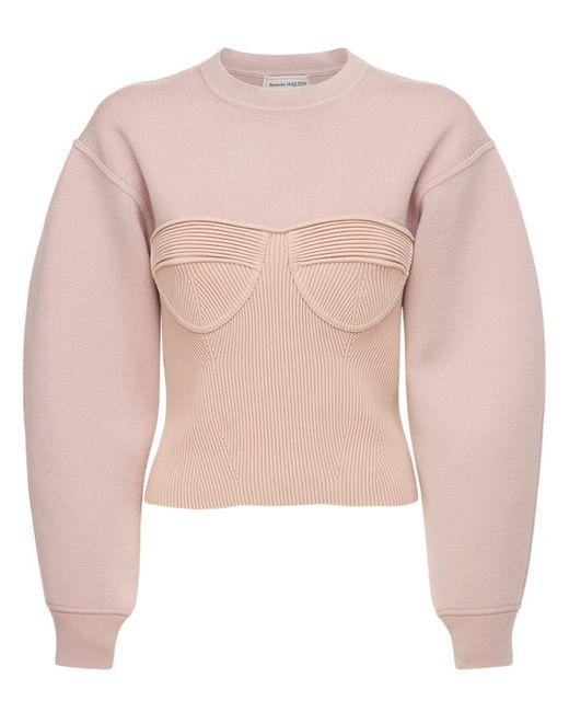 Свитер Из Трикотажа Alexander McQueen, цвет: Pink