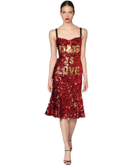 Dolce & Gabbana D&g Is Love スパンコールドレス Red