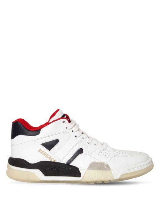 Кожаные Кроссовки Ginobli Versace для него, цвет: White