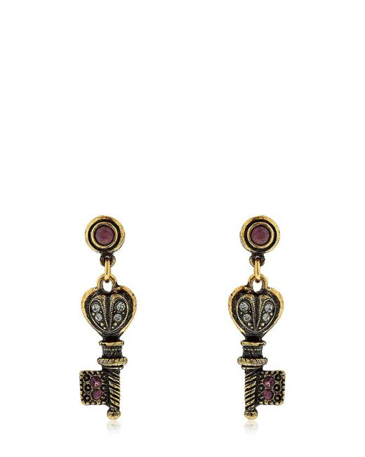 Alcozer & J - Metallic Agata Key Earrings - Lyst