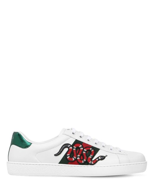 Gucci White Snake Ace Embroidered Leather Sneakers for men