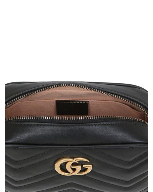 Gucci Black Kleine GG Marmont Schultertasche aus Matelassé