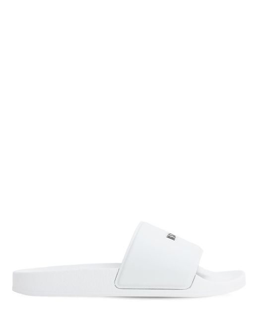 メンズ MSGM テックスライドサンダル White