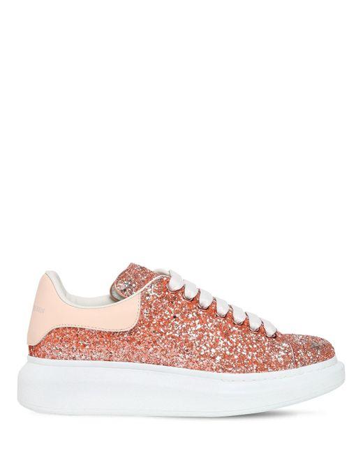 Кожаные Кроссовки С Блёстками 40mm Alexander McQueen, цвет: Pink