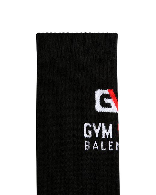メンズ Balenciaga ストレッチコットンソックス Black