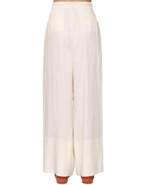 Pantaloni In Tela Di Viscosa di Jacquemus in White