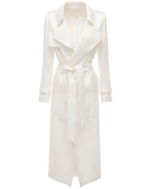 Tagliatore 0205 White Carola Linen Trench Coat