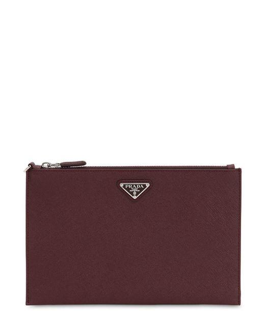313ef49d406f Prada - Purple Saffiano Leather Pouch for Men - Lyst ...