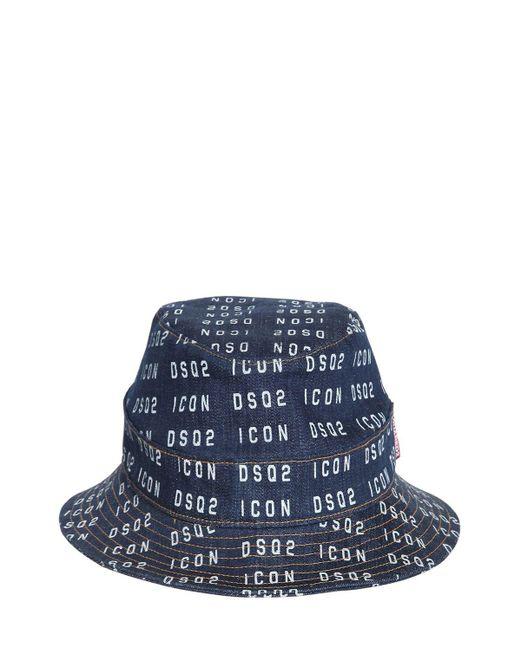 メンズ DSquared² デニムバケットキャップ Blue