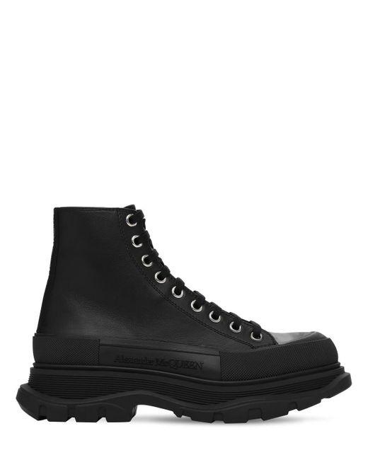 Кожаные Кроссовки Со Шнуровкой Alexander McQueen для него, цвет: Black
