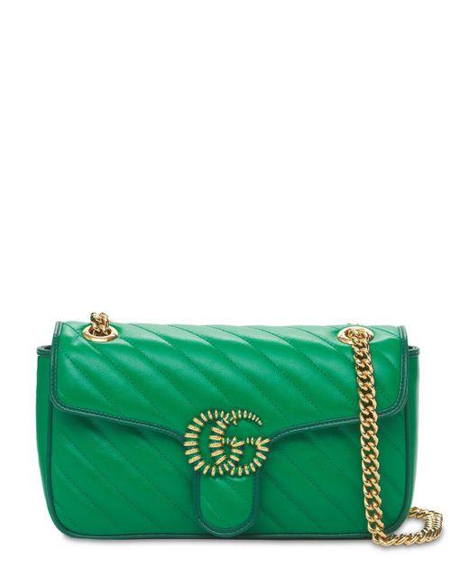 Кожаная Сумка Small Gg Marmont Gucci, цвет: Green