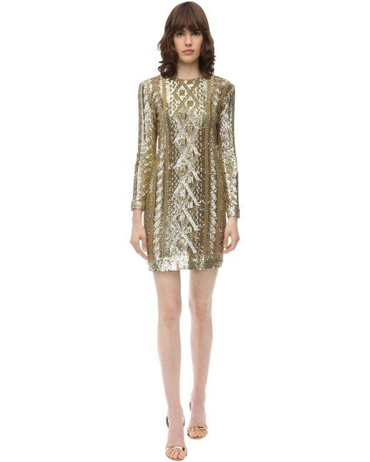 Max Mara Metallic Kleid Aus Technojersey Mit Pailletten
