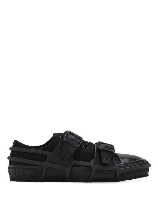 Кроссовки Из Канвас И Кожи Burberry для него, цвет: Black