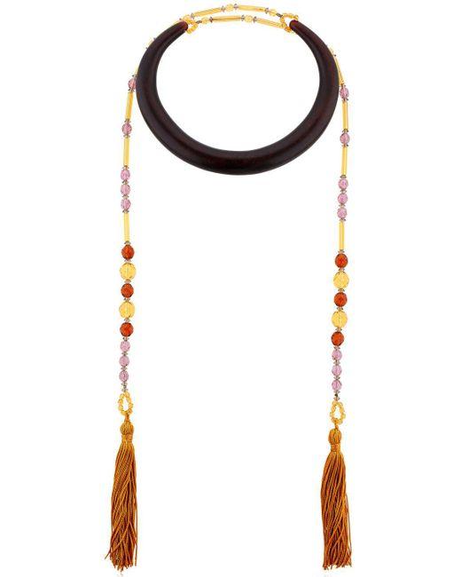 Sharra Pagano   Black Senape Tassels Wooden Necklace For Lvr   Lyst