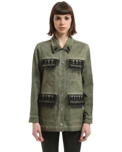 John Richmond Washed Cotton Jacket Green