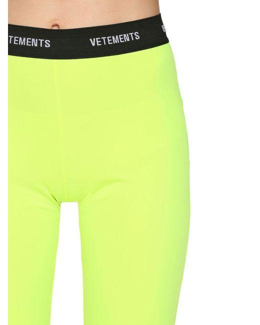 Leggings In Lycra Con Logo di Vetements in Yellow