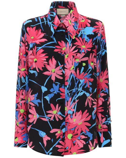 Gucci プリントシルクシャツ Multicolor