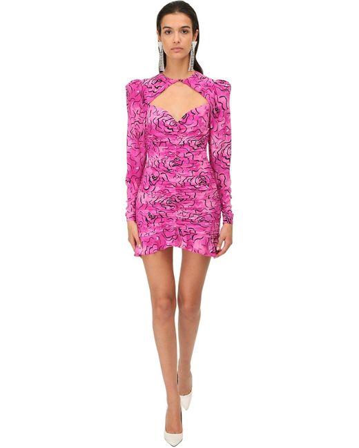 Alessandra Rich シルククレープミニドレス Pink