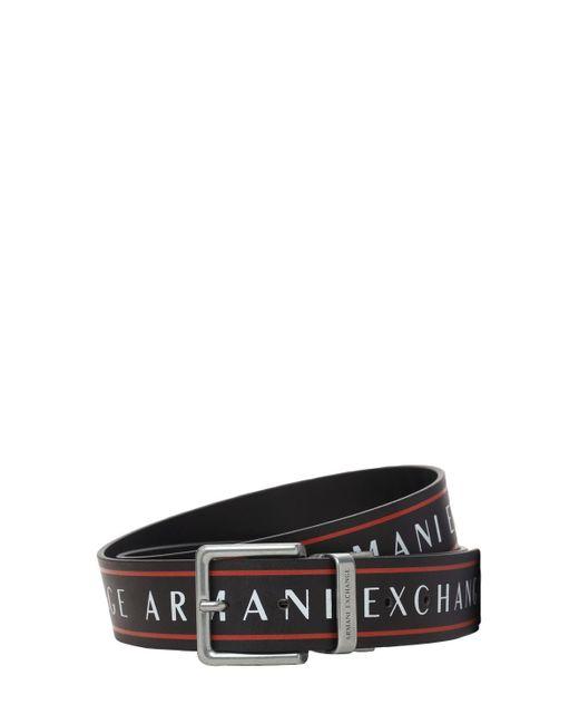 メンズ Armani Exchange リバーシブルレザーベルト 3cm Black