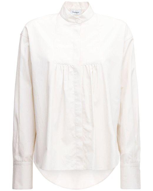 Ferragamo プリーツコットンポプリンシャツ White