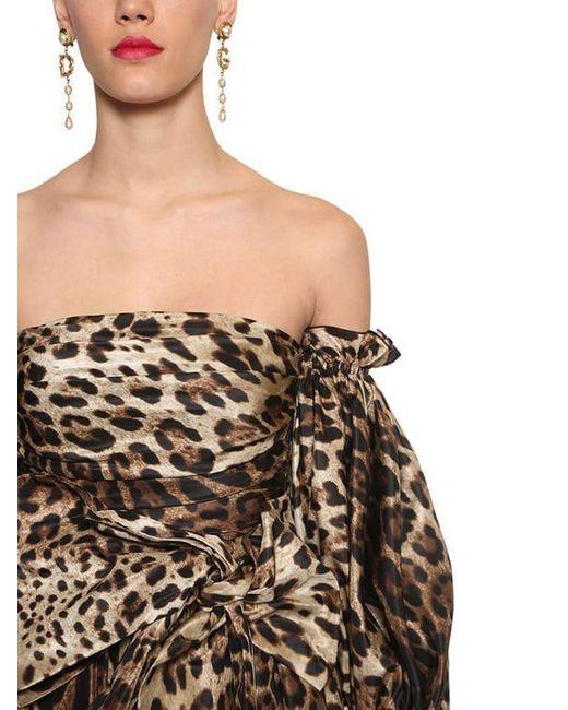 Dolce & Gabbana タフタ フリルドレス Brown