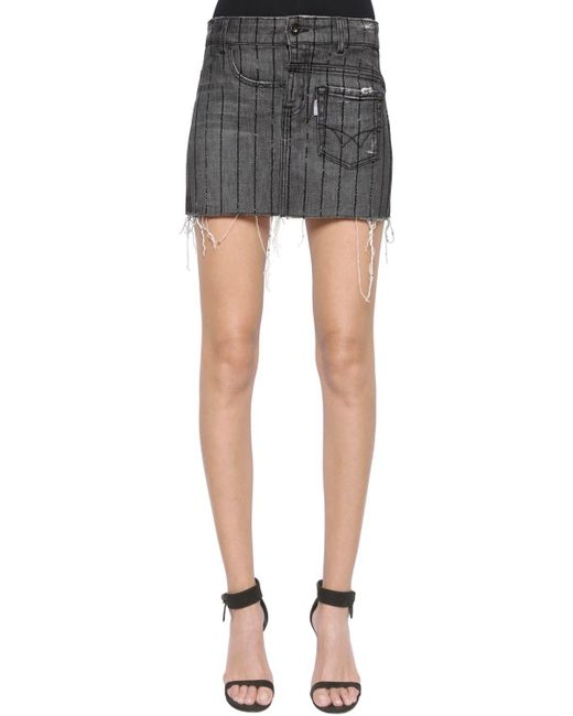 Filles A Papa - Gray Twisted Crystal Stripes Denim Mini Skirt - Lyst
