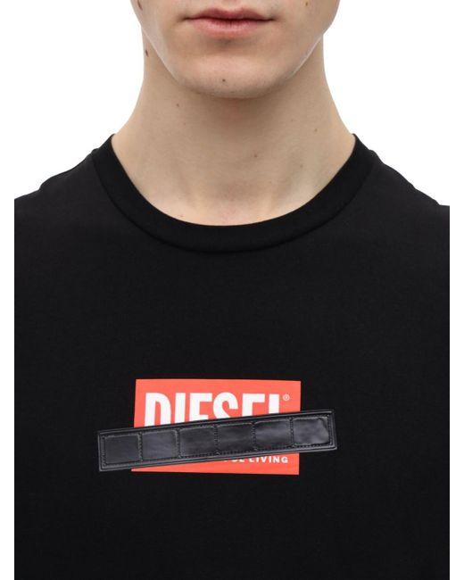 メンズ DIESEL コットンジャージーtシャツ Black