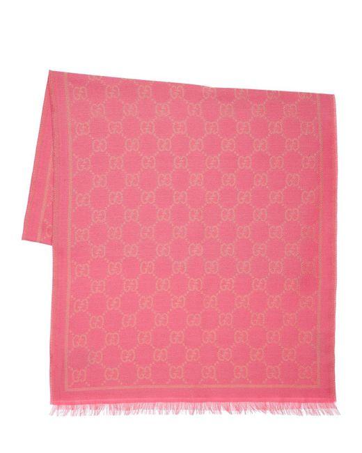 Шарф Из Шерстяного Жаккарда И Люрекса Gucci, цвет: Pink