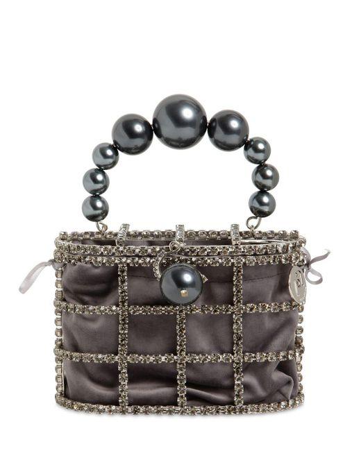 Rosantica Holly クリスタル&パールボックスバッグ Gray