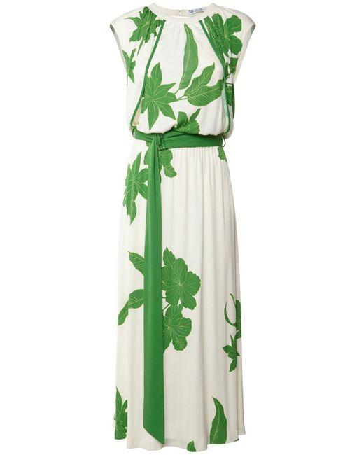 Loro Piana Floral ビスコース&シルクジャージードレス Green