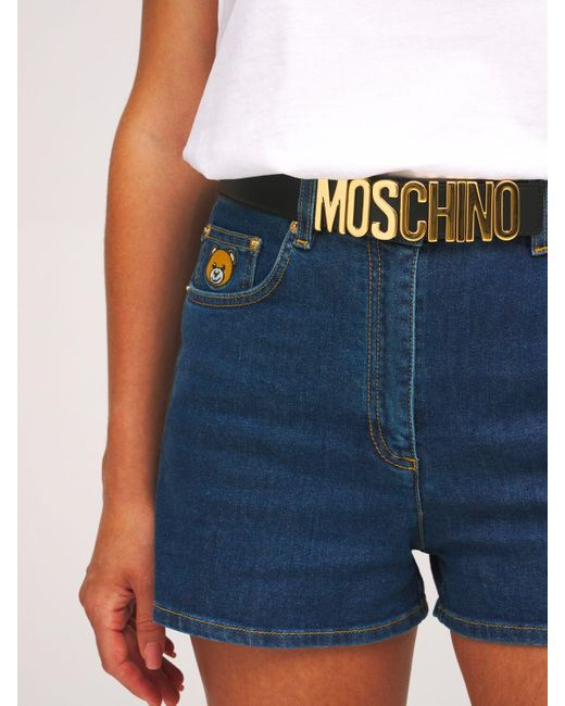 Кожаный Ремень С Логотипом Moschino, цвет: Black