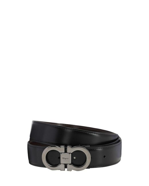Двухсторонний Кожаный Ремень 35mm Ferragamo для него, цвет: Black