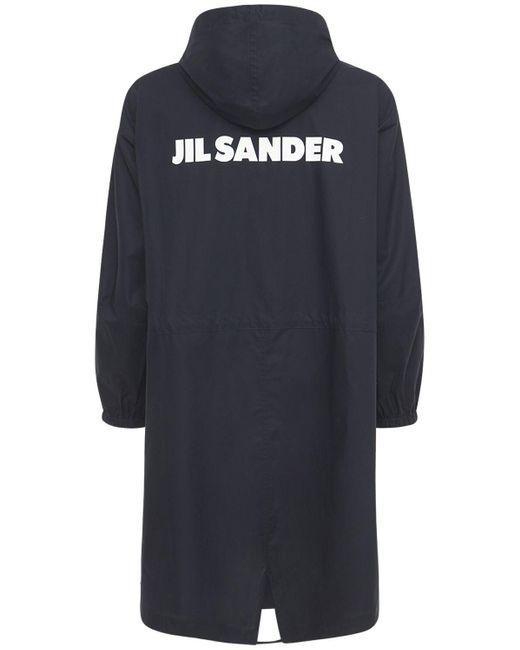 Хлопковое Пальто С Принтом Jil Sander для него, цвет: Blue