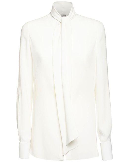 Рубашка Из Шёлкового Жоржета Alexander McQueen, цвет: White