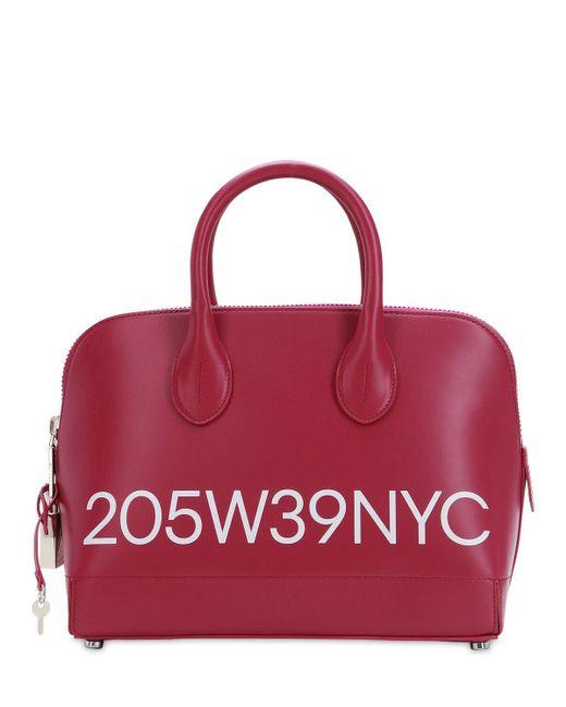 CALVIN KLEIN 205W39NYC Dalton スモール ロゴプリントレザーバッグ Red