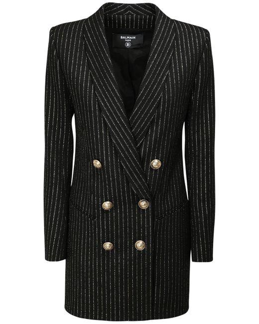 Платье-пиджак Из Смешанной Шерсти Balmain, цвет: Black