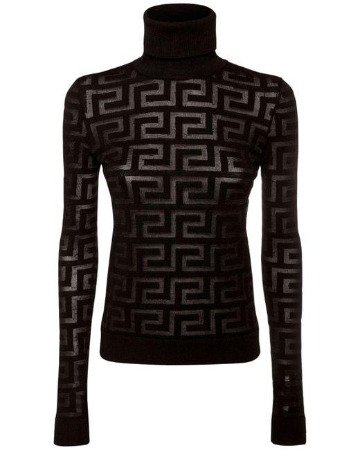 Свитер Из Шерсти И Шелка Versace, цвет: Black