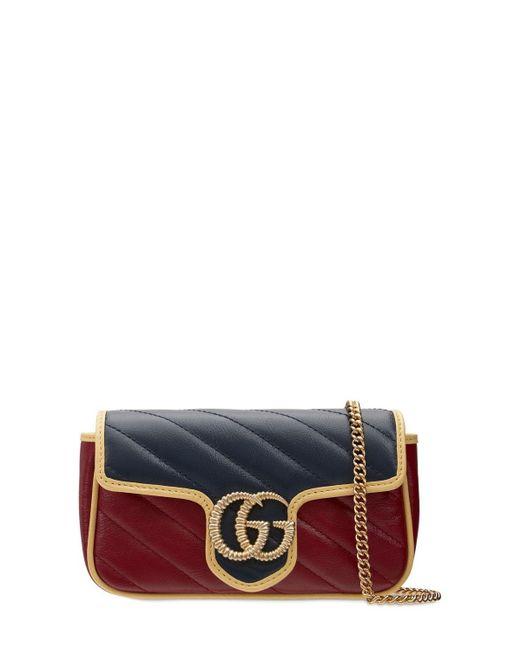 Gucci Gg Marmont Super Mini レザーバッグ Blue