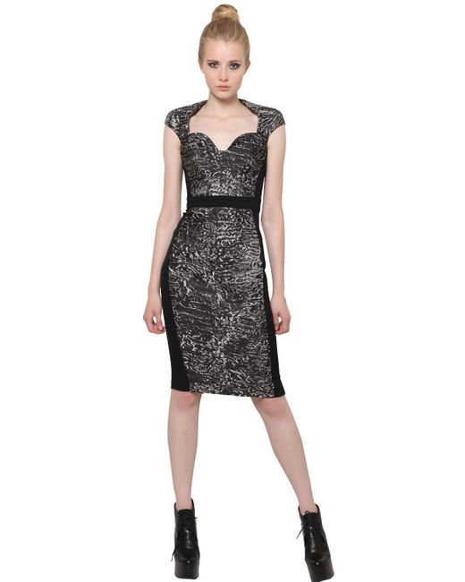 Antonio Berardi - Black Silk Jacquard And Techno Cady Dress - Lyst