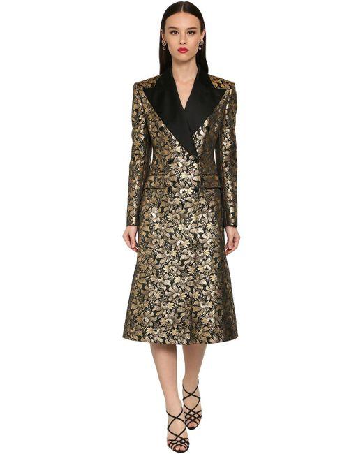 Dolce & Gabbana ダブルブレストジャカードラメコート Metallic