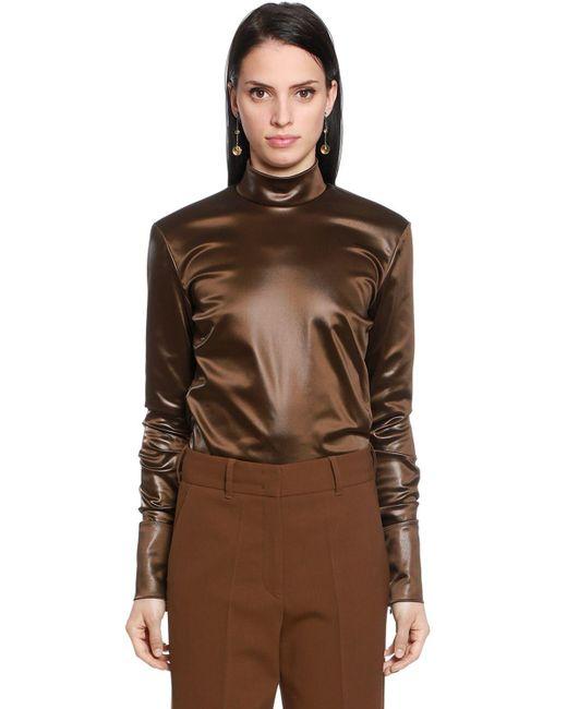 Jil Sander - Brown Stretch Satin Shirt - Lyst
