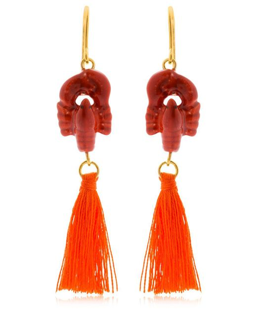 Nach - Red Lobster Earrings With Tassels - Lyst