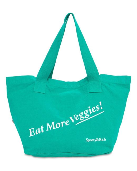 Sporty & Rich Eat Veggies コットントートバッグ Green