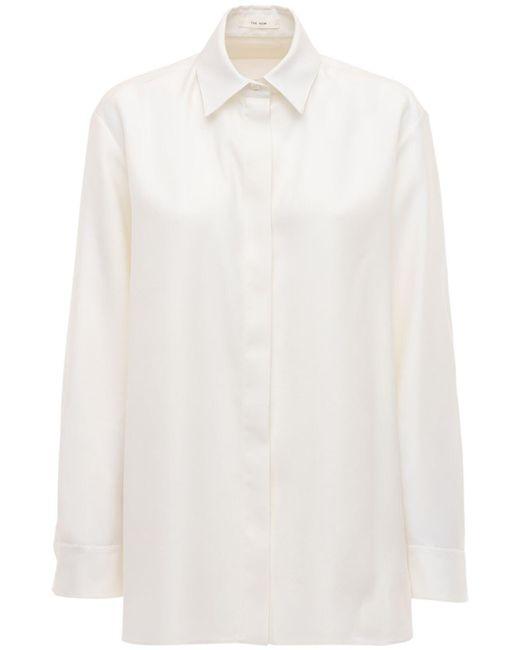 The Row ウール&シルクブレンドシャツ White