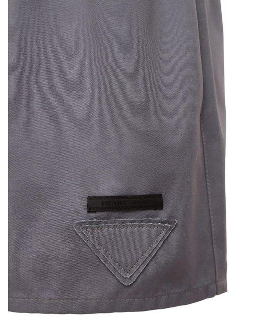 Shorts In Popeline Di Cotone di Prada in Gray