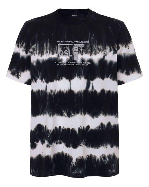 メンズ DIESEL タイダイコットンジャージーtシャツ Black