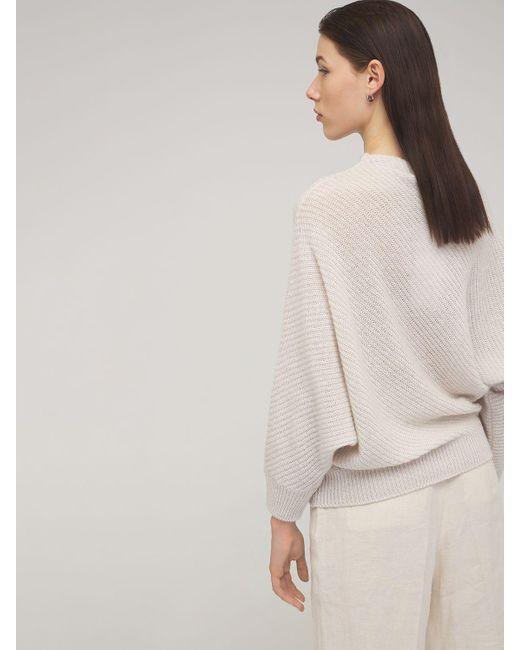 Agnona カシミア&リネンニットセーター Natural